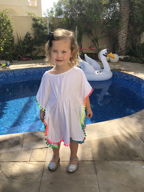 The Little Beach Kaftan - White with pom-poms