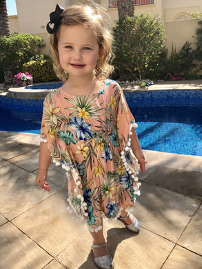 The Little Beach Kaftan - Tropical Peach Print