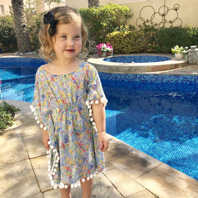 The Little Beach Kaftan - Pale blue floral birds print