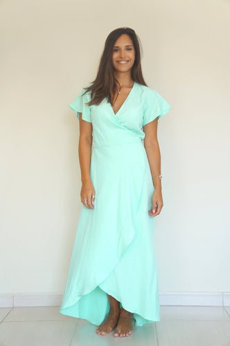 The Wrap dress - Aqua Crepe Double Layer