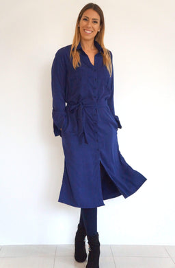 The Midi Shirt Dress - Navy Blue