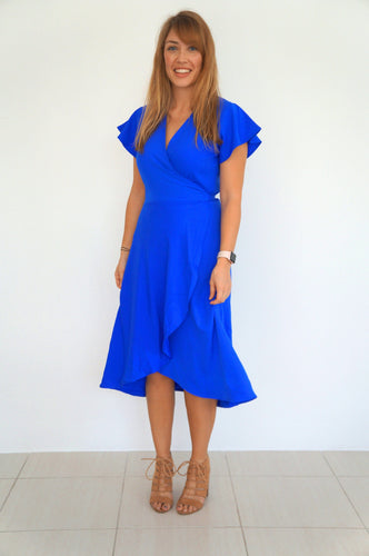 The Wrap Dress - Royal Blue - Midi