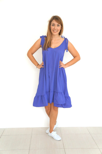 The Harem Dress - Cornflower Blue, Red Polka Dot
