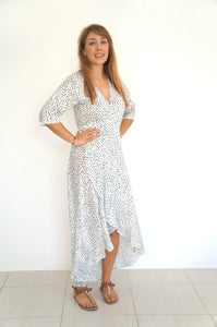 The Wrap Dress w/ 3/4th Sleeves - Black & White Smudge