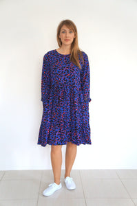 The Marina Dress - Short - Royal Blue Hot Pink Animal