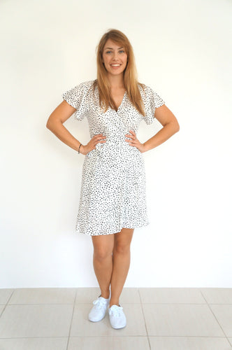 The Wrap Dress - Black & White Smudge - Short