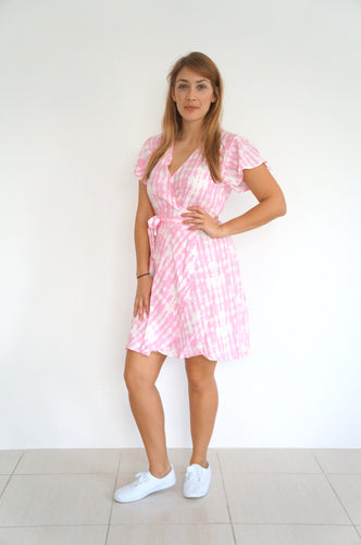 The Wrap Dress - Pink & White Tie Dye - Short