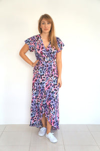 The Wrap Dress - Pink & Purple Animal