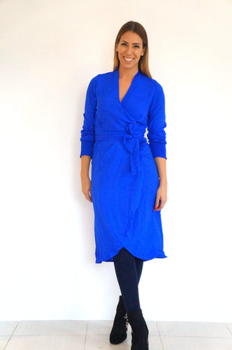The Cuff Sleeves Wrap Dress - Royal Blue - Midi