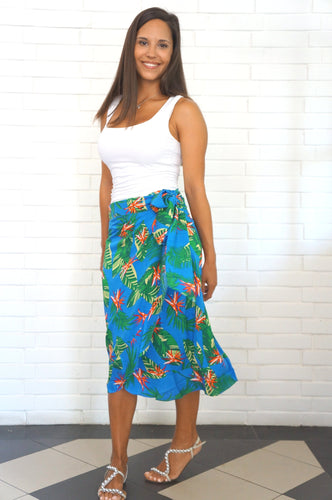 The Ruffle Wrap Skirt - Royal Blue Tropical