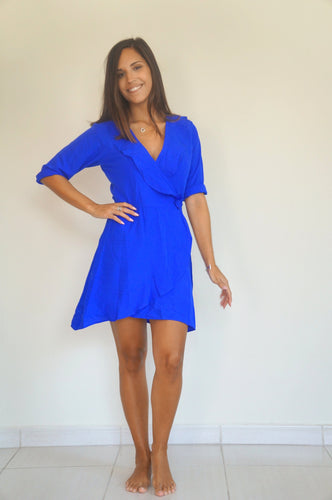 The Flirty Ruffle Wrap Dress - Royal Blue - Short