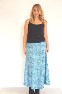 The Joss Maxi Skirt - Aqua Blue Snake - Navy Blue Waist Band
