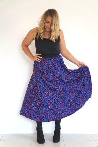 The Joss Maxi Skirt - Blue & Hot Pink Animal - Black Waist Band