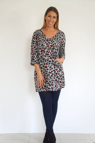 The AW Anywhere Dress - Grey & Maroon Animal Print