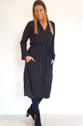The Midi Shirt Dress - Midnight Black