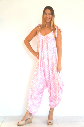 The Harem Jumpsuit - Pink & White Tie Dye