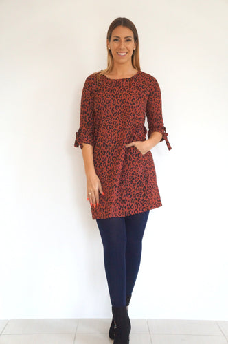 The AW Anywhere Dress - Maroon Animal Print