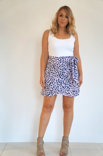The Ruffle Wrap Skirt - Pink & Navy Smudge - Short