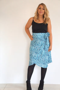 The Ruffle Wrap Skirt - Aqua Blue Snake
