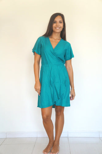The Wrap dress - Mermaid Green - Short