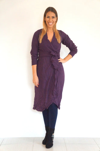 The Cuff Sleeves Wrap Dress - Perfect Plum - Midi