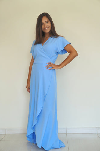 The Wrap dress - Cornflower Blue