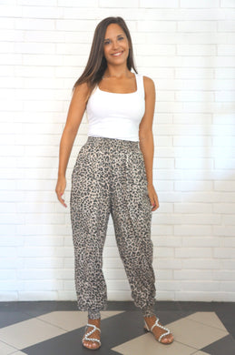 The Easy Trousers - Stretch Dotted Leopard