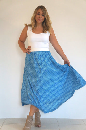 The Joss Maxi Skirt - Blue & White Mini Leaves  - White Waist Band