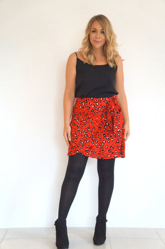 The Ruffle Wrap Skirt - Red Animal Print - Standard Length
