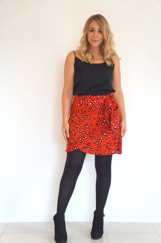 The Ruffle Wrap Skirt - Red Animal Print