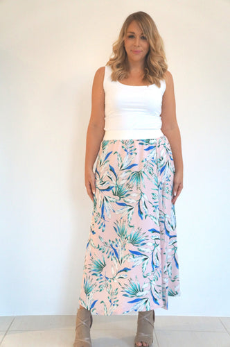 The Joss Maxi Skirt - Pale Pink Garden - Pure White Waist Band