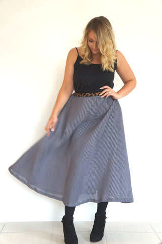 The Joss Maxi Skirt - Plated Grey - Leopard Print Waist Band