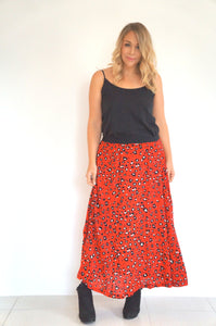 The Joss Maxi Skirt - Red Animal - Black Waist Band