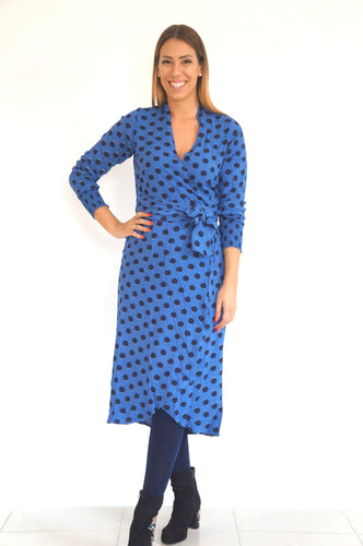 The Cuff Sleeves Wrap Dress - Deep Blue, Black Spot - Midi