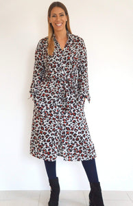 The Midi Shirt Dress - Grey Maroon Animal