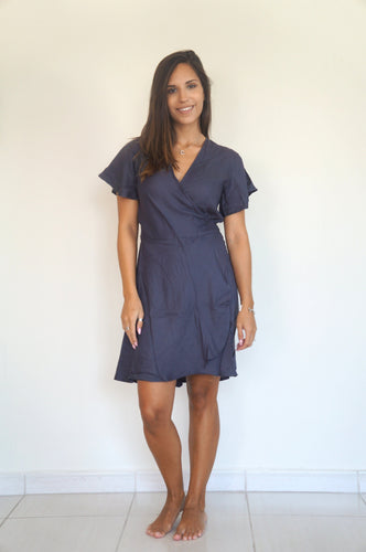 The Wrap Dress - Slate Grey - Short
