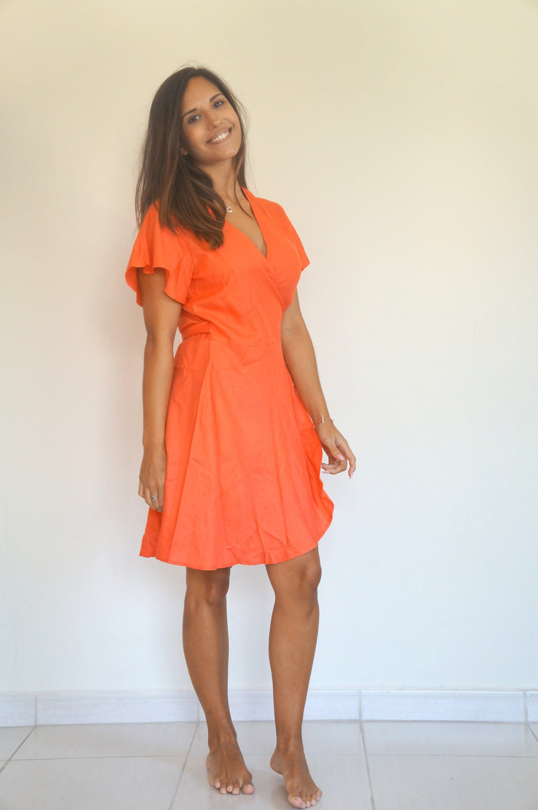 The Wrap dress - Holiday Coral - Short