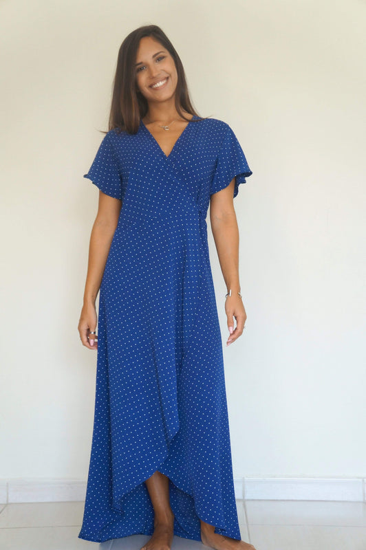 The Wrap Dress - Navy Blue, Mini White Polka Dots