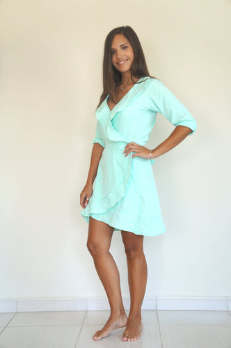 The Flirty Ruffle Wrap Dress - Aqua Double Fabric - Short