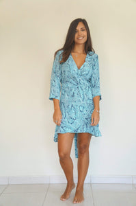 The Flirty Ruffle Wrap Dress - Aqua Blue Snake - Short