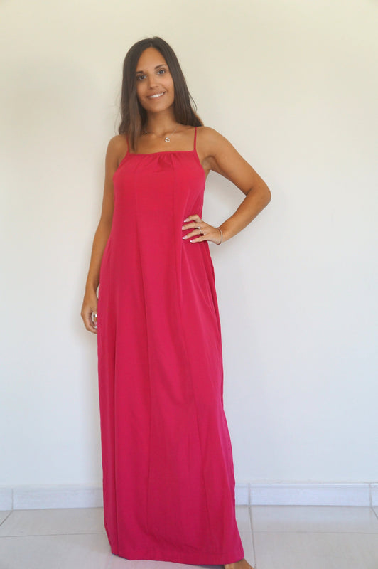 Spaghetti Maxi Dress – Raspberry