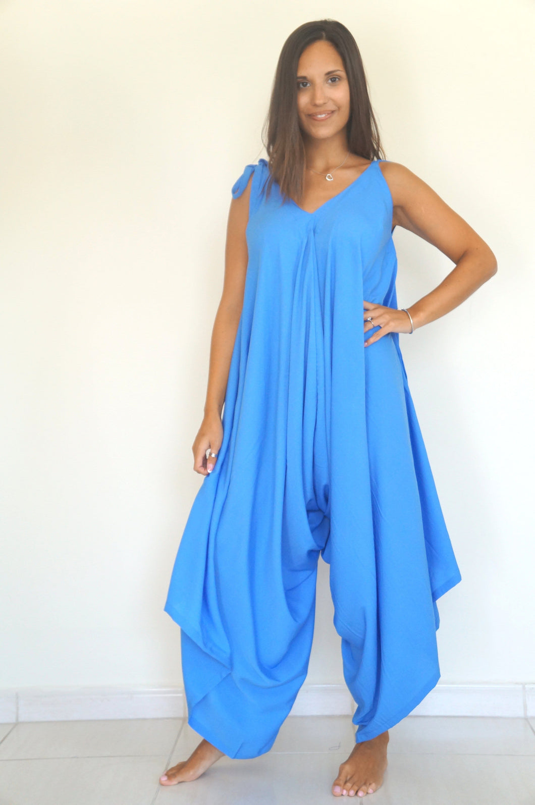 The Harem Jumpsuit - Cornflower Blue