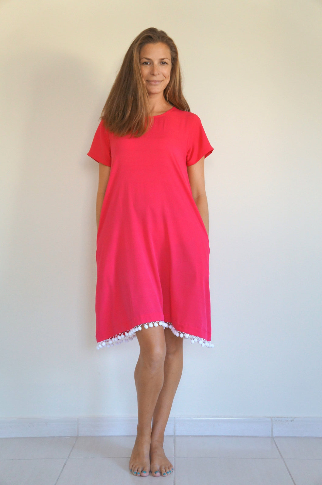 The Anywhere Dress - Raspberry with white pom-poms
