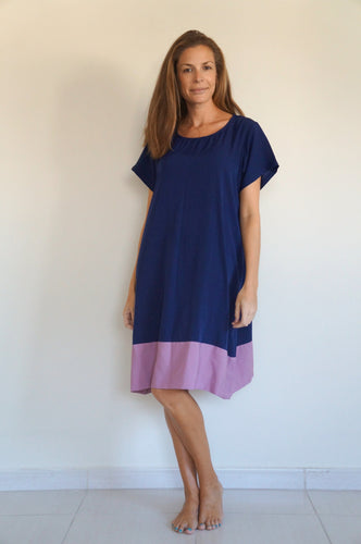 The Anywhere Colour Block Dress - Navy blue with Lavender colour Block