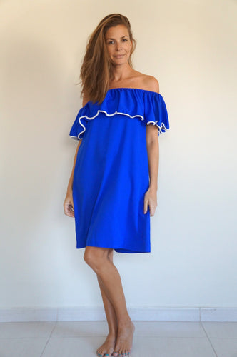 Ruffle 'Bardot Syle' Dress - Royal Blue