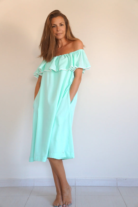 Ruffle 'Bardot Syle' Dress - Aqua