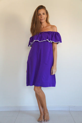 Ruffle 'Bardot Syle' Dress - Royal Purple