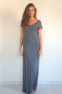 The Tshirt Maxi dress – Dark Grey with Pom-pom Sleeves