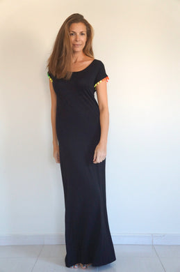 The Tshirt Maxi dress – Black with Pom-pom Sleeves