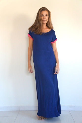 The Tshirt Maxi dress – Dark Blue with Pom-pom Sleeves